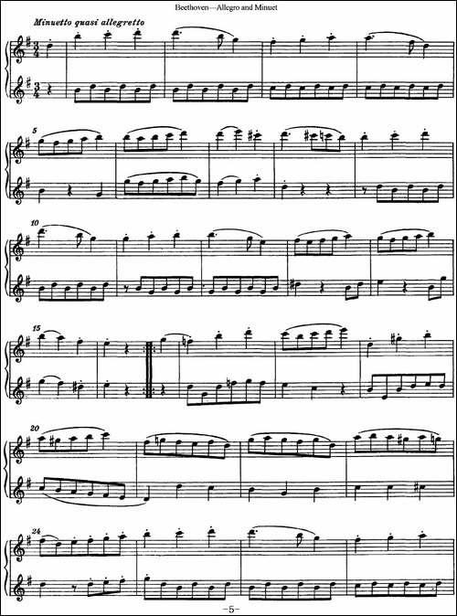 贝多芬快板及小步舞曲二重奏-长笛五线谱|长笛谱