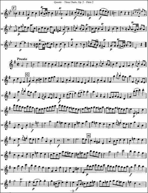 匡茨G大调长笛二重奏Op.2——Flute-2-No.1-长笛五线谱 长笛谱