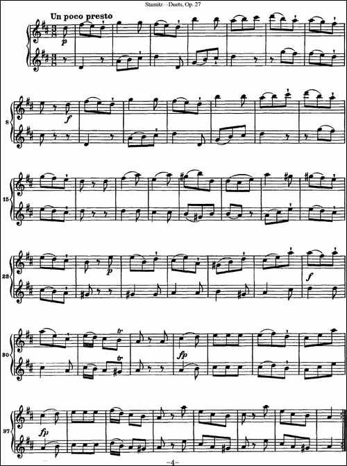 斯塔米茨二重奏长笛练习曲Op.27-No.4-长笛五线谱 长笛谱