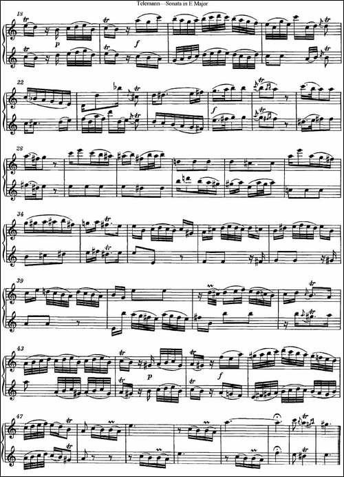 台莱曼E大调双长笛奏鸣曲--No.3-长笛五线谱|长笛谱