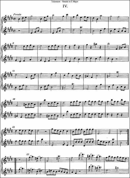 台莱曼E大调双长笛奏鸣曲--No.4-长笛五线谱|长笛谱