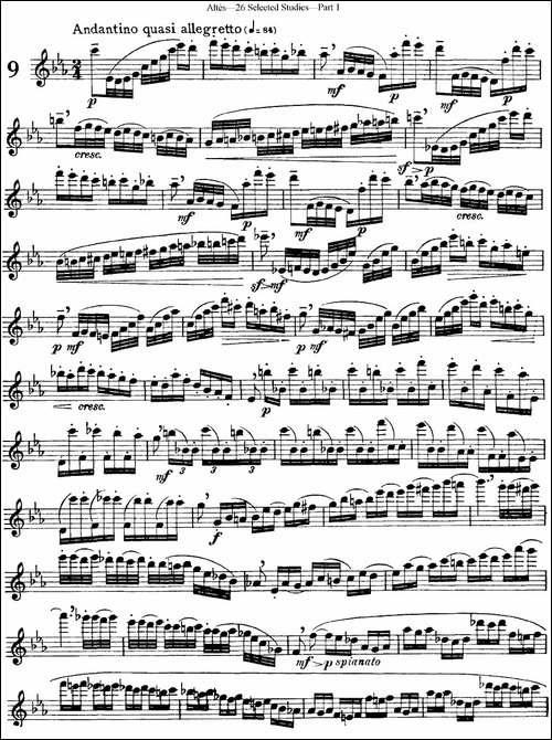 阿尔泰斯26首精选长笛练习曲-NO.9-长笛五线谱|长笛谱