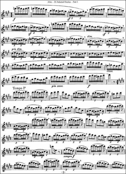 阿尔泰斯26首精选长笛练习曲-NO.14-长笛五线谱|长笛谱