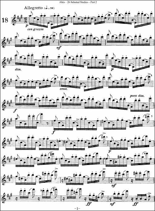 阿尔泰斯26首精选长笛练习曲-NO.18-长笛五线谱 长笛谱
