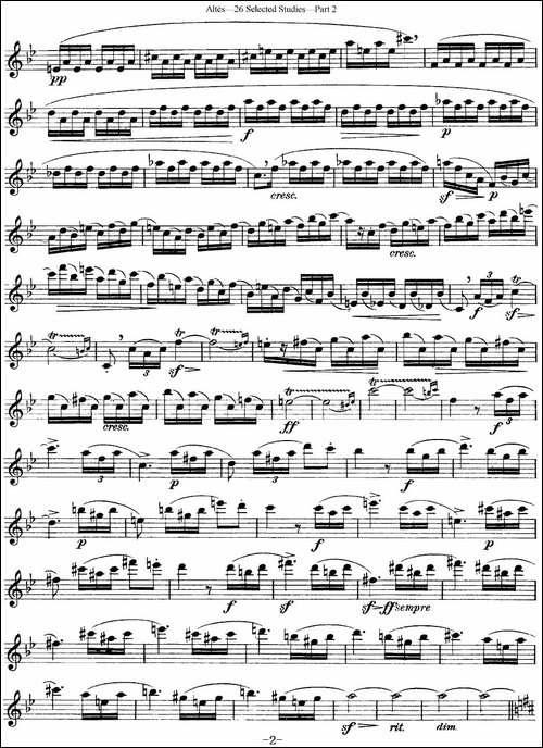阿尔泰斯26首精选长笛练习曲-NO.23-长笛五线谱|长笛谱