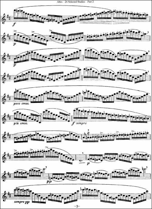 阿尔泰斯26首精选长笛练习曲-NO.26-长笛五线谱|长笛谱