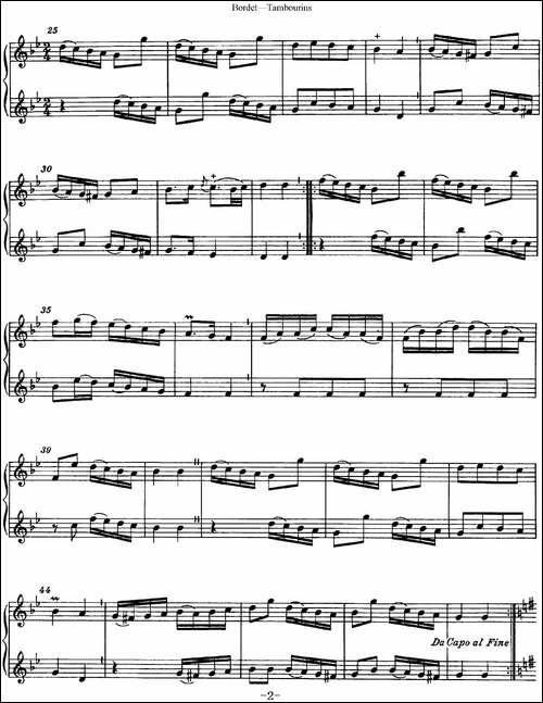 博埭特长笛二重奏-Tambourins-长笛五线谱|长笛谱