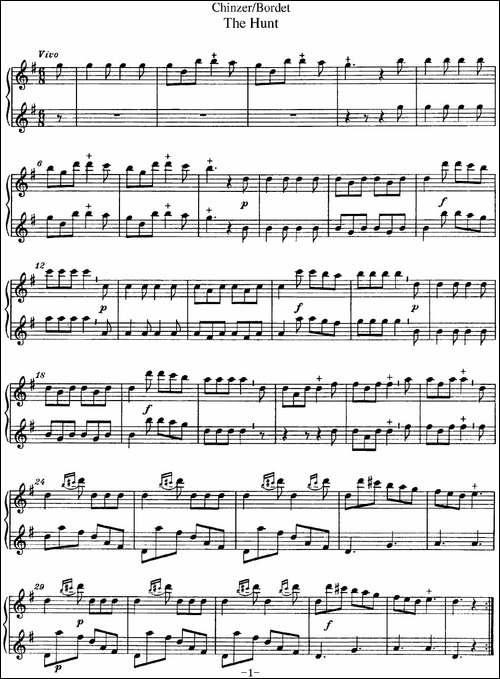 博埭特长笛二重奏-The-Hunt-长笛五线谱|长笛谱
