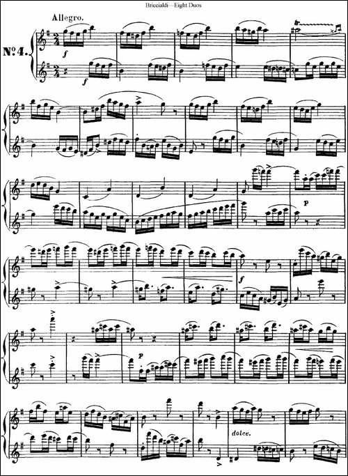 8首博瑞西亚第长笛二重奏-NO.4-长笛五线谱 长笛谱