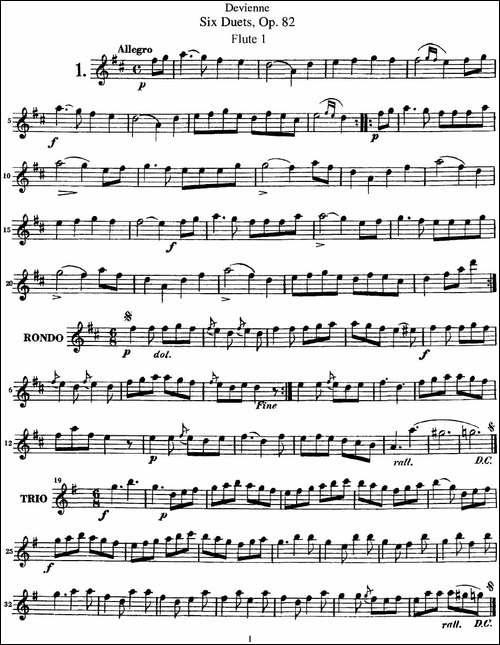 德维埃纳六个长笛二重奏小段Op.82——Flute-1--长笛五线谱|长笛谱