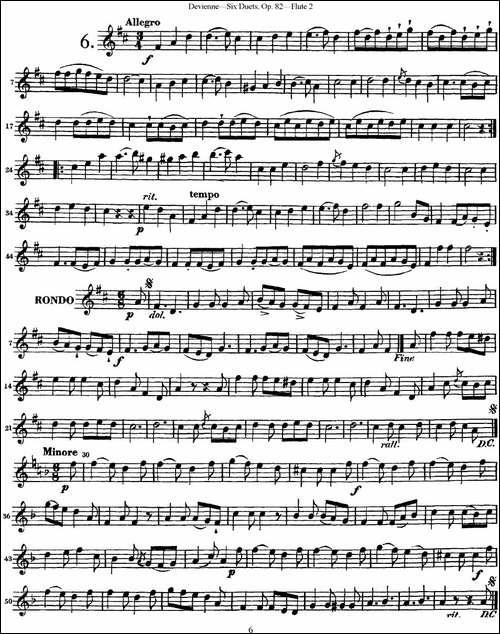 德维埃纳六个长笛二重奏小段Op.82——Flute-2--长笛五线谱 长笛谱