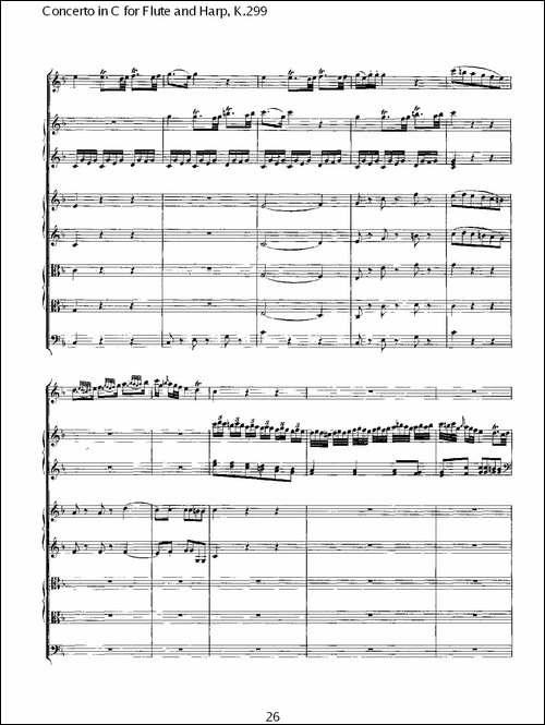 C调长笛与竖琴协奏曲,-K.299-长笛五线谱 长笛谱