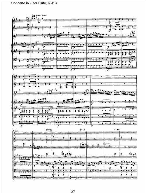 Concerto-in-G-for-Flute,-K.313-G调长笛协奏-长笛五线谱 长笛谱