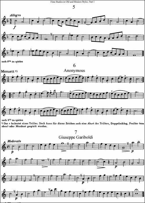 斯勒新老风格长笛练习重奏曲-第一-NO.5-NO.7-长笛五线谱 长笛谱