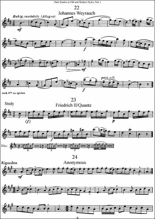 斯勒新老风格长笛练习重奏曲-第一-NO.22-NO.26-长笛五线谱 长笛谱