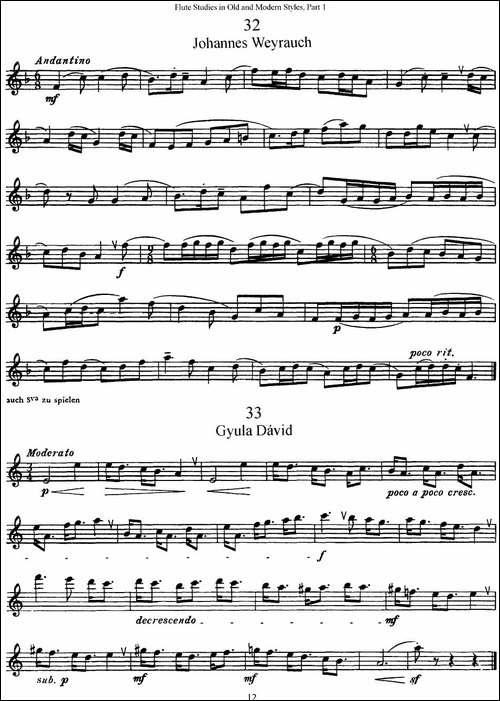 斯勒新老风格长笛练习重奏曲-第一-NO.32-NO.35-长笛五线谱 长笛谱