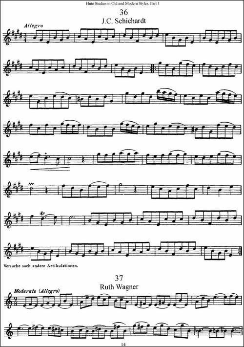 斯勒新老风格长笛练习重奏曲-第一-NO.36-NO.42-长笛五线谱|长笛谱