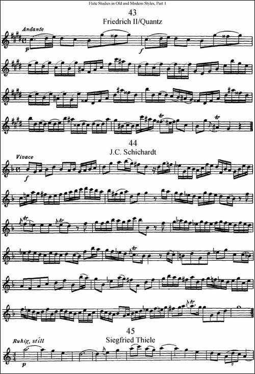 斯勒新老风格长笛练习重奏曲-第一-NO.43-NO.46-长笛五线谱|长笛谱