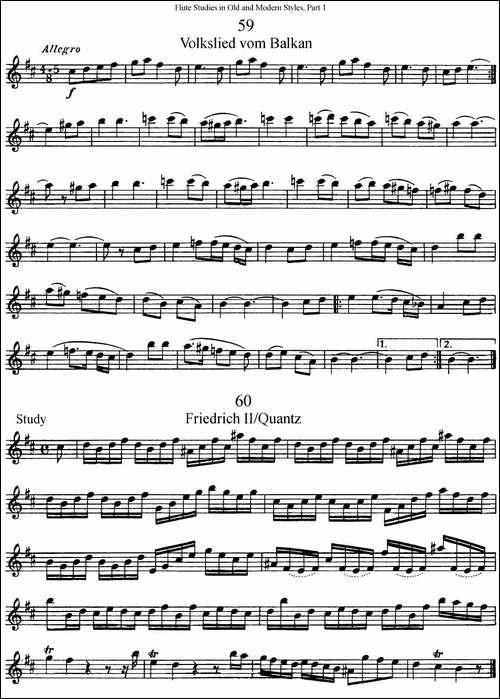 斯勒新老风格长笛练习重奏曲-第一-NO.59-NO.60-长笛五线谱|长笛谱