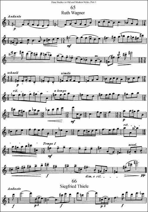 斯勒新老风格长笛练习重奏曲-第一-NO.65-NO.67-长笛五线谱|长笛谱