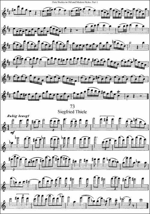 斯勒新老风格长笛练习重奏曲-第一-NO.71-NO.73-长笛五线谱 长笛谱