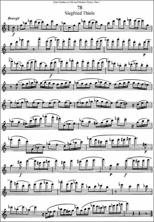 斯勒新老风格长笛练习重奏曲-第一-NO.78-长笛五线谱|长笛谱