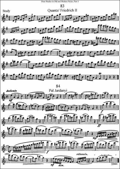 斯勒新老风格长笛练习重奏曲-第一-NO.83-NO.84-长笛五线谱|长笛谱