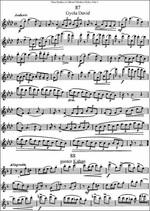 斯勒新老风格长笛练习重奏曲-第一-NO.87-NO.90-长笛五线谱|长笛谱