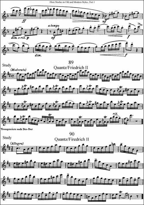 斯勒新老风格长笛练习重奏曲-第一-NO.87-NO.90-长笛五线谱 长笛谱