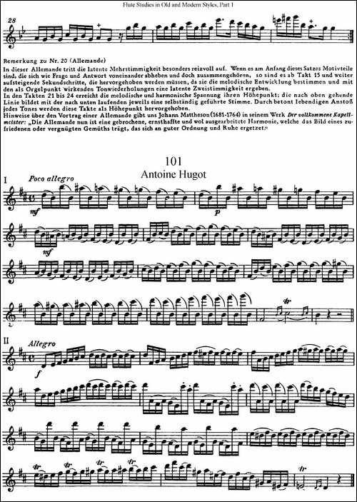 斯勒新老风格长笛练习重奏曲-第一-NO.100-NO.1-长笛五线谱 长笛谱