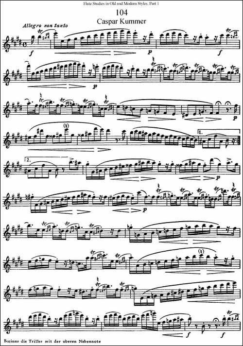 斯勒新老风格长笛练习重奏曲-第一-NO.104-NO.1-长笛五线谱|长笛谱