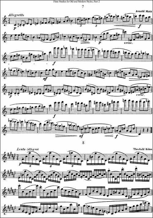 斯勒新老风格长笛练习重奏曲-第二-NO.7-NO.8-长笛五线谱|长笛谱