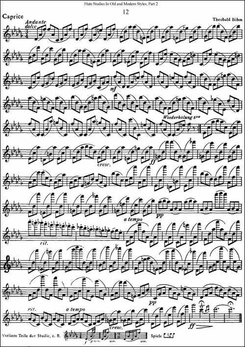 斯勒新老风格长笛练习重奏曲-第二-NO.12-长笛五线谱 长笛谱