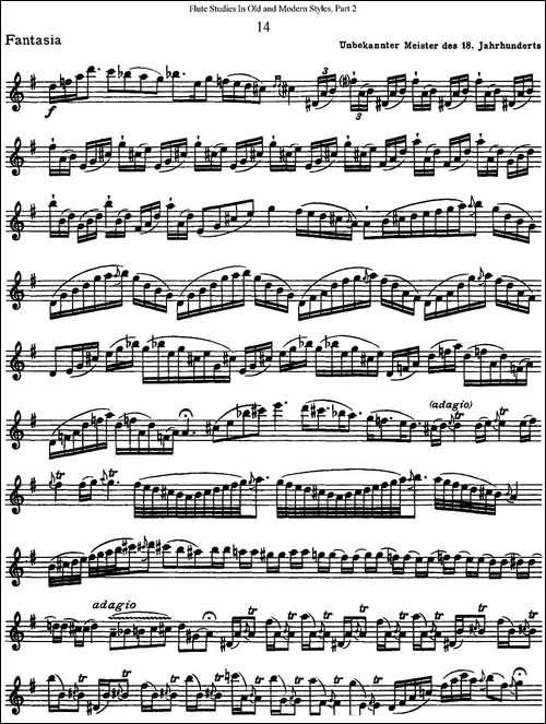 斯勒新老风格长笛练习重奏曲-第二-NO.14-NO.15-长笛五线谱 长笛谱