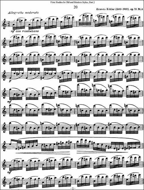 斯勒新老风格长笛练习重奏曲-第二-NO.20-长笛五线谱|长笛谱