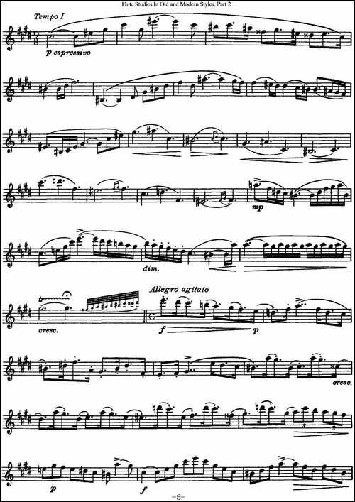 斯勒新老风格长笛练习重奏曲-第二-NO.21-长笛五线谱 长笛谱