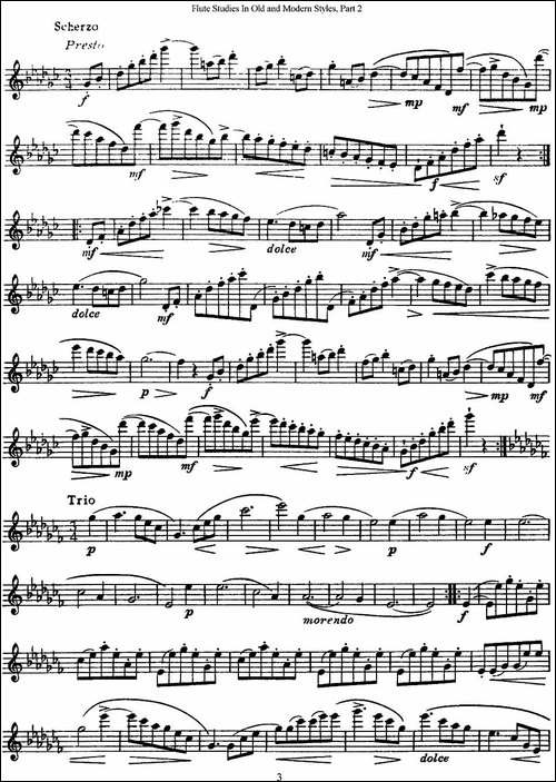 斯勒新老风格长笛练习重奏曲-第二-NO.26-长笛五线谱 长笛谱