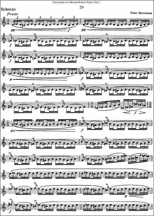 斯勒新老风格长笛练习重奏曲-第二-NO.29-长笛五线谱|长笛谱