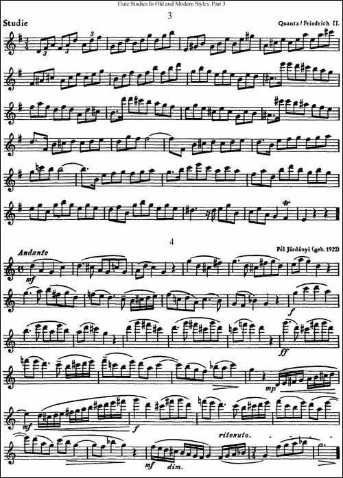 斯勒新老风格长笛练习重奏曲-第三-NO.3-NO.4-长笛五线谱|长笛谱