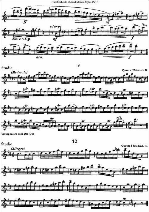 斯勒新老风格长笛练习重奏曲-第三-NO.7-NO.10-长笛五线谱|长笛谱