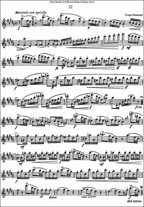斯勒新老风格长笛练习重奏曲-第三-NO.22-NO.23-长笛五线谱 长笛谱