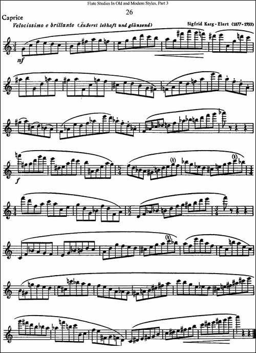 斯勒新老风格长笛练习重奏曲-第三-NO.26-长笛五线谱|长笛谱