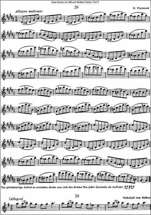 斯勒新老风格长笛练习重奏曲-第三-NO.29-NO.31-长笛五线谱|长笛谱