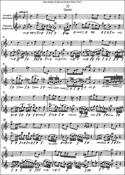 斯勒新老风格长笛练习重奏曲-第三-NO.32-长笛五线谱|长笛谱