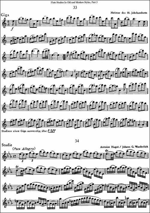 斯勒新老风格长笛练习重奏曲-第三-NO.33-NO.35-长笛五线谱|长笛谱