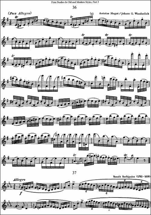 斯勒新老风格长笛练习重奏曲-第三-NO.36-NO.37-长笛五线谱 长笛谱