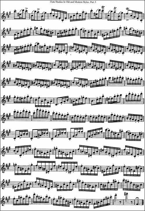 斯勒新老风格长笛练习重奏曲-第三-NO.44-NO.45-长笛五线谱|长笛谱