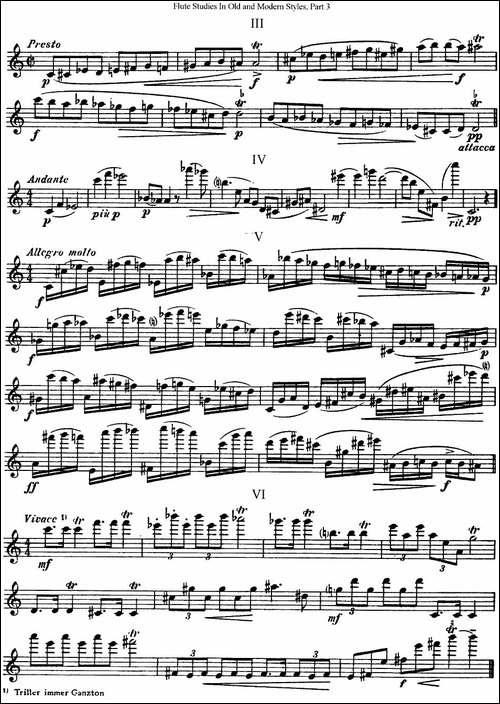 斯勒新老风格长笛练习重奏曲-第三-NO.46-长笛五线谱|长笛谱