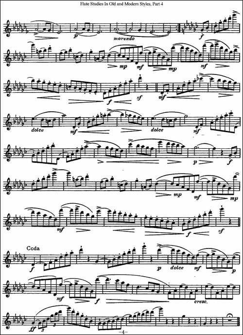 斯勒新老风格长笛练习重奏曲-第四-NO.13-长笛五线谱|长笛谱
