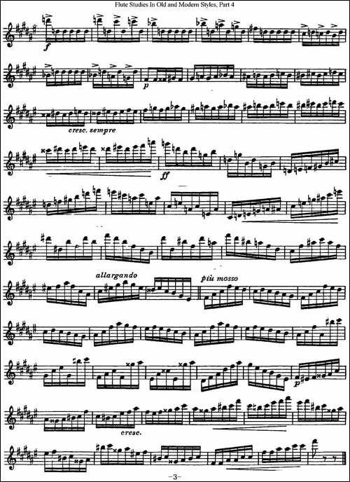 斯勒新老风格长笛练习重奏曲-第四-NO.21-长笛五线谱|长笛谱